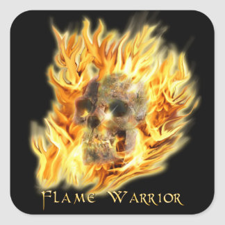 Skull and Fiery Flames Spooky Art Stickers