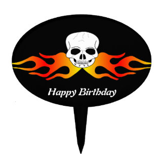Skull And Flames Birthday Cake Topper
