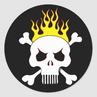 Skull and flames stickers