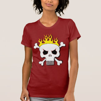 Skull and flames women's t-shirt