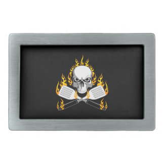 Skull and Flaming Spatulas Belt Buckle