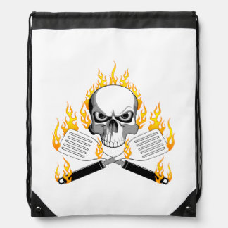 Skull and Flaming Spatulas Drawstring Bag