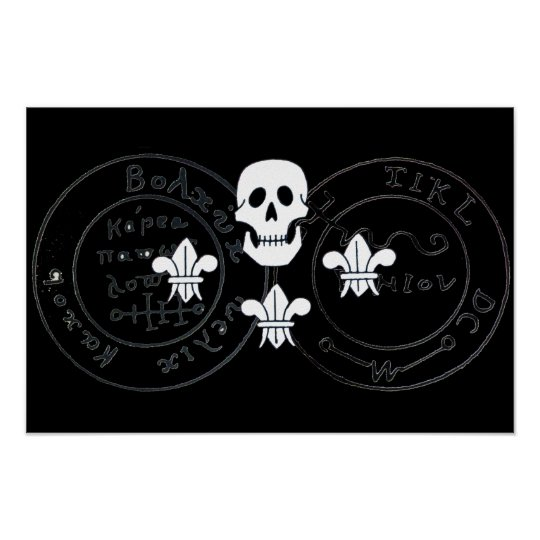 SKULL AND FLEUR DE LISE  / PIRATES TREASURE MAPS, POSTER