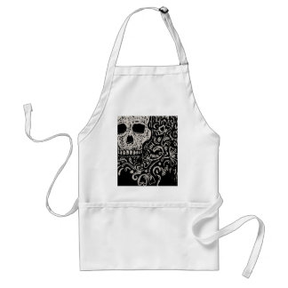 Skull and Flora Etching Adult Apron