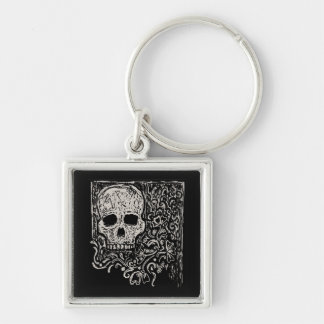 Skull and Flora Etching Keychain