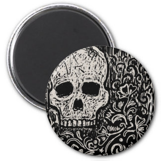 Skull and Flora Etching Magnet