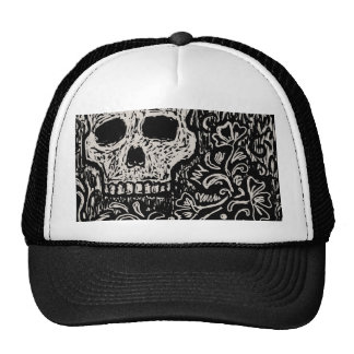 Skull and Flora Etching Trucker Hat
