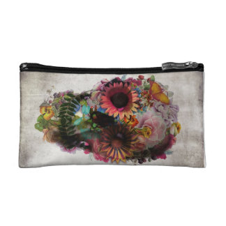 Skull and Flower Design Small Cosmetic Bag