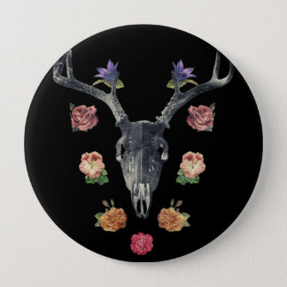 Skull and flowers button