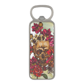 Skull And Flowers Day Of The Dead Magnetic Bottle Opener