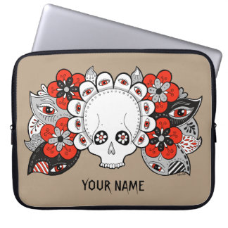 Skull and Flowers Drawing Laptop Case Template