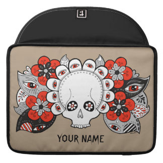 Skull and Flowers Drawing Macbook Case Template