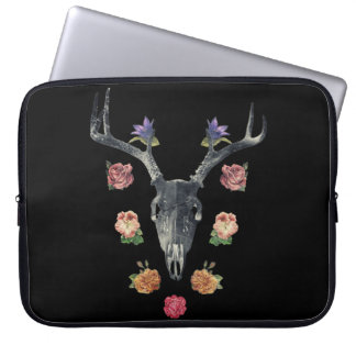 Skull and flowers laptop computer sleeves