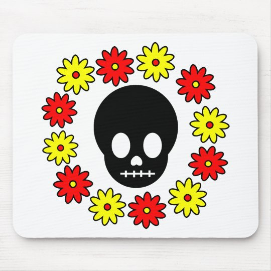 Skull and Flowers Mouse Pad