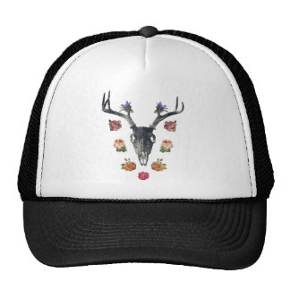 Skull and flowers trucker hat