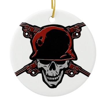 Skull and four crossed revolvers emblem ceramic ornament