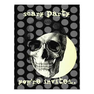 skull and full moon halloween scary invite