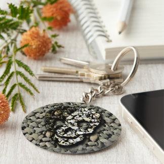 Skull and gravel keychain