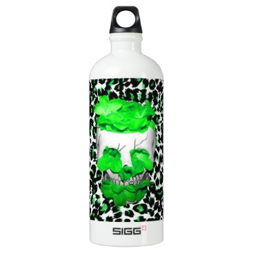 Halloween Themed Skull and Green Flowers on Leopard Spots Aluminum Water Bottle