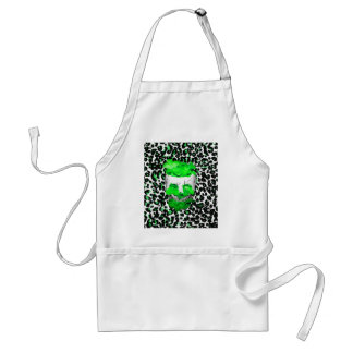 Skull and Green Flowers on Leopard Spots Apron