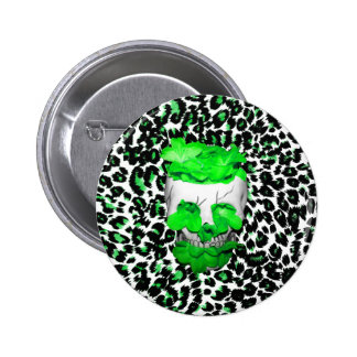 Skull and Green Flowers on Leopard Spots Pins