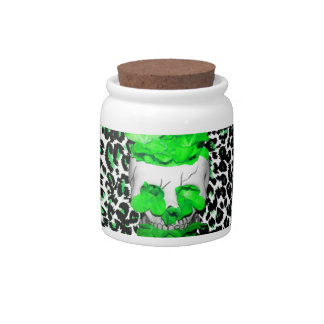 Skull and Green Flowers on Leopard Spots Candy Dish