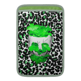 Skull and Green Flowers on Leopard Spots MacBook Sleeves