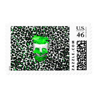 Skull and Green Flowers on Leopard Spots Stamp