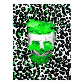 Skull and Green Flowers on Leopard Spots Postcard