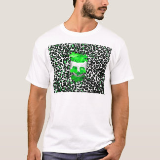 Skull and Green Flowers on Leopard Spots T-Shirt
