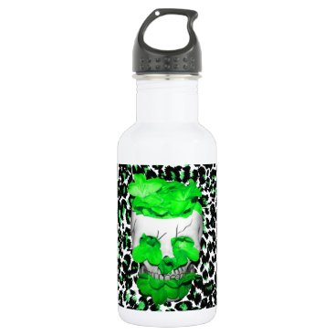 Halloween Themed Skull and Green Flowers on Leopard Spots Water Bottle