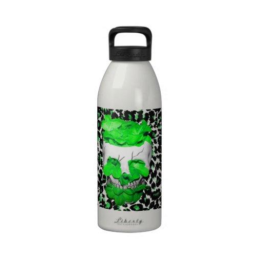 Skull and Green Flowers on Leopard Spots Reusable Water Bottles