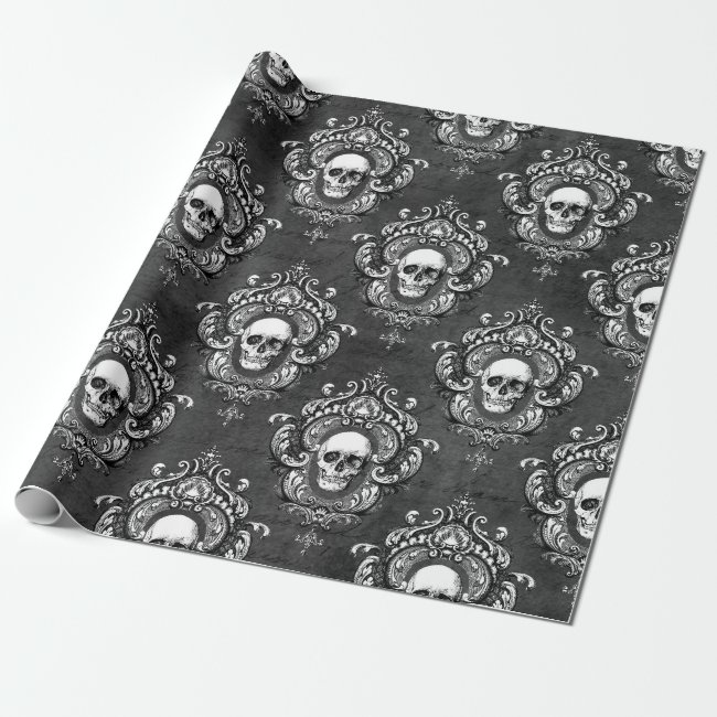 Skull and Grey Gothic Wrapping Paper