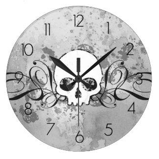 Skull And Grungy Swirls Clocks