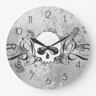Skull And Grungy Swirls Large Clock