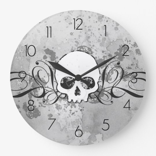 Skull And Grungy Swirls Large Clock