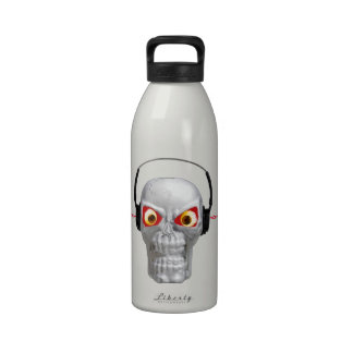 skull and headphones with lightning from ears water bottle