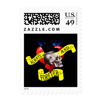 Skull and heart tattoo design stamp