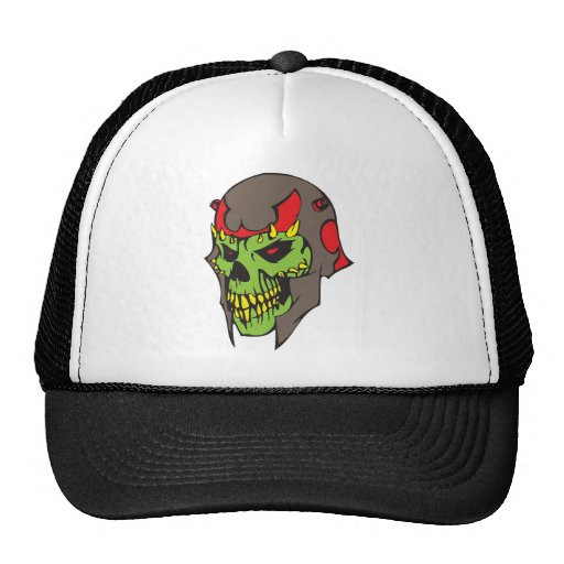 Skull and Helmet Mesh Hat