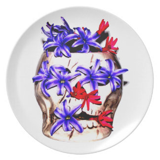 Skull and Hyacinth Flowers Dinner Plates