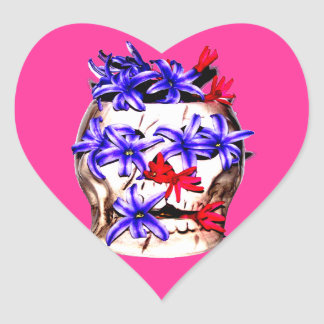 Skull and Hyacinth Flowers Heart Sticker