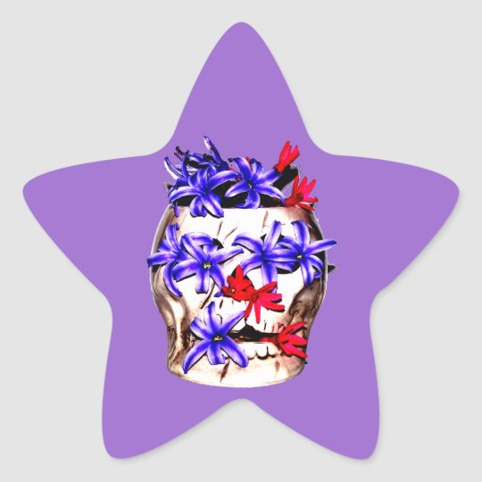 Skull and Hyacinth Flowers Star Sticker