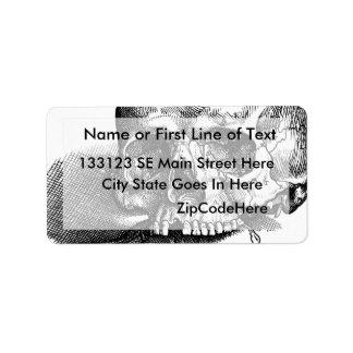 Skull and Jawbones Vintage sketch Address Label