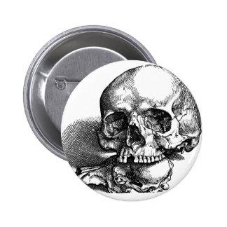 Skull and Jawbones Vintage sketch Pinback Button