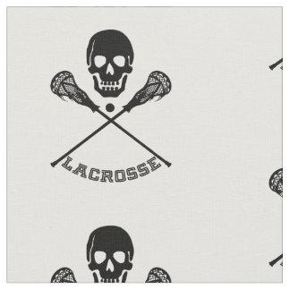 Skull and Lacrosse Sticks Fabric