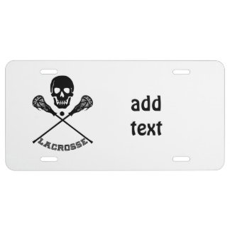 Skull and Lacrosse Sticks License Plate