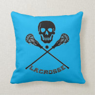 Skull and Lacrosse Sticks Throw Pillow