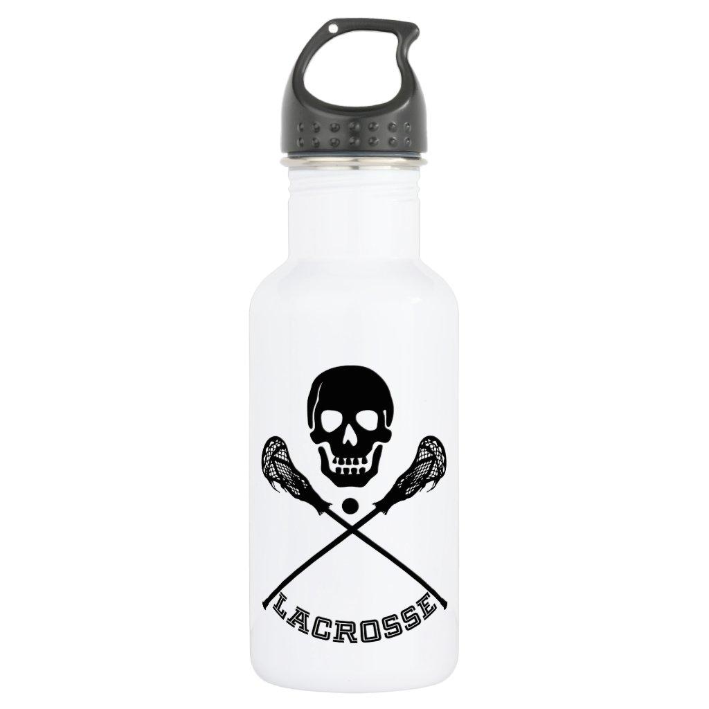 Skull and Lacrosse Sticks Water Bottle
