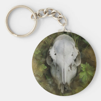 Skull and Leaves Keychain