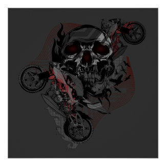 Skull and Motorbikes Artwork - Dark Poster